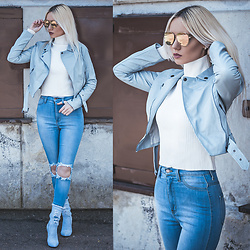 Oksana Orehhova - Fashion Nova Jacket, Ego Boots, Cl!C Clac Sunglasses - SKY DENIM