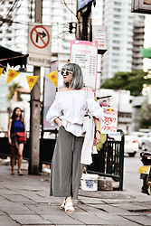 Esra E. - Romwe Off Shoulder White Blouse, No Name Striped Culottes - Bangkok