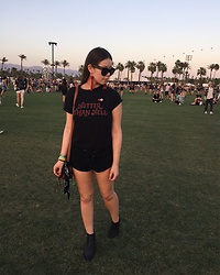 Taylor Smith - Vanessa Mooney Earrings, Brandy Melville Usa Hotter Than Hell Tee, Urban Outfitters Lace Up Shorts, Modern Vice Boots - Hotter Than Hell | Coachella Weekend One