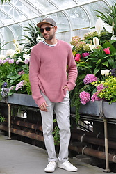 Hector Diaz - Urban Outfitters Pink Oversized Sweater, J. Crew Navy Striped T Shirt, Yajoe White Pants, H&M Hat, Gilt Shades, H&M White Sneakers - Pink Champagne
