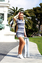 Anna Gotsyk - Zara Dress, River Island Sneakers, Oasis Jacket, Miu Sunglasses - Spring in Nice