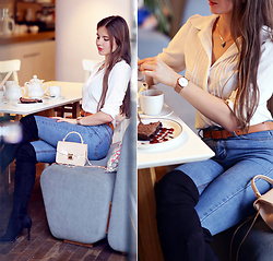 Ariadna Majewska - Denim Pants, White Shirt, Beige Bag - Denim