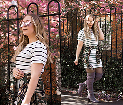 Emma Reay - Light In The Box Grey Boots, Light In The Box Striped Tshirt Dress, Zaful Sunglasses - The Striped T-Shirt Dress