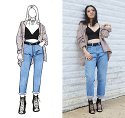 Yonish - Ralph Lauren Flannel, American Apparel Bralette, Yoki Lace Up Heels - Bralette and Mom Jeans