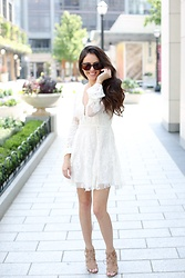 Megan Elliott - Free People Reign Over Me Lace Dress, Sam Edelman Yardley Lace Up Heeled Sandal - Lovely White Dress