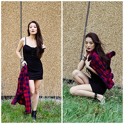 Kimberly Kong - Forever 21 Bustier Dress, Stitch Fix Plaid Shirt - My $10 Bustier Dress