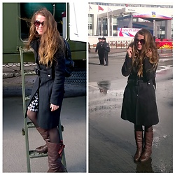 Alla Dolzhenko - H&M Frames, Concept Club Grey Overcoat, Wh/Bl Dress, Sinsay Backpack ?, Vintage Brown Boots - ? Militant babe