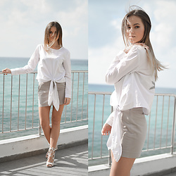 Tamara Bellis - Yoshop Blouse, Mango Skirt, Simmi Shoes Heels - Saturday with Ionian Sea