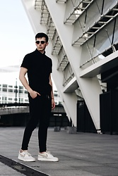 Alex Boyko - Pull&Bear Poli Shirt, Asos Pants, Nike Air Force - Black Street style