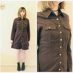 Rachel-Marie - Unbranded Tattoo Choker, Romwe Brown Button Front Coat With Pockets, Unbranded Black Lace Up Martin Boots - Ready for a New Adventure