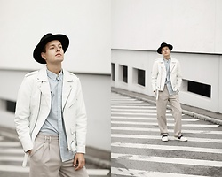 Patrick Pankalla - Reclaimed Vintage Leather Jacket, H&M Blue Shirt, Cos Trousers, Valentino Open Sneakers, H&M Fedora Hat - Lighter Days