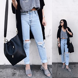 Tiffany Wang - Jeffrey Campbell Shoes Mules, Levi's® Jeans, Mon Purse, American Apparel Crop Top, Oak + Fort Kimono - LIVE IN LEVIS
