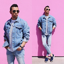 Franko Dean - Aldo Loafers, Forever 21 Denim Jacket, Topman Stripes T Shirt, Forever 21 Jeans, Daniel Wellington Watch, Ray Ban Aviator Sunglasses - Melrose Avenue