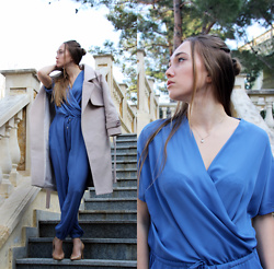 Mary Ryabich - Chicme Jumpsuit, Zaful Nude Coat, Alba Nude Heels - Blue Jumpsuit
