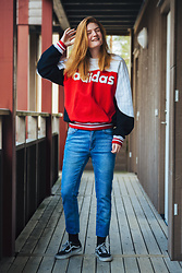 Frida Sjöberg - Adidas Sweatshirt, Cheap Monday Jeans, Vans Sneakers - Radiant Red