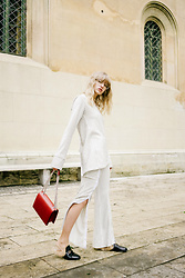 Lotta-Liina Love - House Of Sunny Stripp Tunic, House Of Sunny Stripp Poplin Pants, Gucci Princeton Slippers, Agneel Eva Bag In Red, Viu Eyewear Pilot Frame In Clear - LOTTALIINALOVE.COM X HOFS