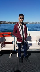 Aloy Chua - Ray Ban Aviators, Lacoste Maroon Jacket, Uniqlo Cream Blazer, Uniqlo Dark Blue Skinny Jeans, Timberland Black Work Boots - Winter down under