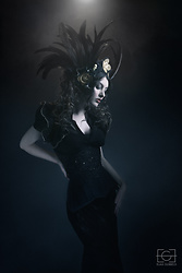 Sharon Boucquez - Emmalyne Rose Headdress, Damaris Luhn Corset, Haute Gothure Skirt - Black Raven