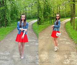 Natalia Uliasz - Zaful Sunglasses, Mohito Red Skirt, C&A Denim Jacket, Sammydress Bag - Red skirt Mohito