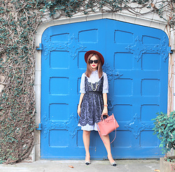 Mayo Wo - Chicwish Striped Lace Dress, Mansur Gavriel Pink Bag - Shut the front door