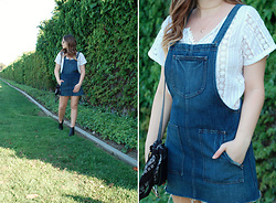 Taylor Smith - Tularosa Top, Tularosa Overall Dress, Modern Vice Boots - Denim Overall Dress