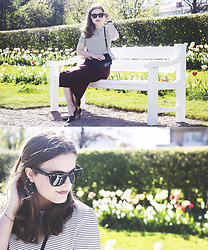 Ingrid Wenell - Ray Ban Sunglasses, H&M Peplum Top, Gina Tricot Pencil Skirt, Zara Shoes, Mango Bag - In the park