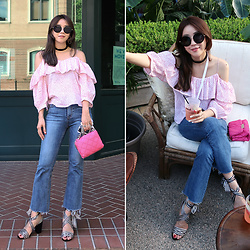 Rekay Style - Miu Round Sunglass, Andotherstories Off Shoulder Blouse, Bootcut Jeans, Stella Mccartney Becks Bag, Raye Strap Sandals - Off the Shoulder