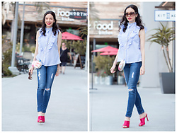 Lisa Valerie Morgan - Shein Top, Adriano Goldschmied Jeans, Schutz Mules - A Pop of Pink