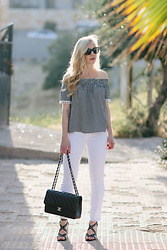 Meagan Brandon - Gingham Top, White Jeans, Nordstrom Studded Sandals - Black & White Gingham Top Under $50