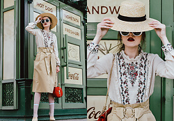 Andreea Birsan - Straw Boater Hat, Frilled Embroidered Top, Split Front Midi Skirt, Beige Suede Mules, Red Crossbody Bag, White Sunglasses - The chic way to wearing your midi skirt