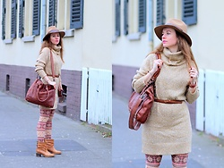 Rimanere Nella Memoria - H&M Dress, H&M Hat, Bull & Hunt Leather Bag, Bullboxer Boots - Brown Tones