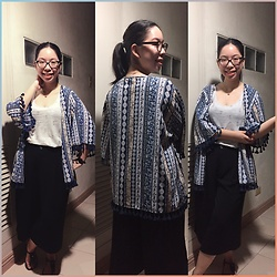 Christa U. - Zalora Fringe Hem Kimono Top, Rounded Top From Flea Market, Uniqlo Culottes - We are all frayed at the edges