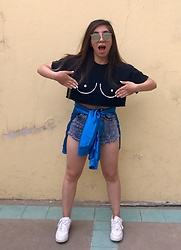Karen Cardiel - Diy Tits Crop Top, Romwe Denim High Waisted Shorts, Nike Air Force 1, La Cobacha Satin Electric Blue Bomber Jacket, Mirror Sunglasses - Upssssss ( . )( . )
