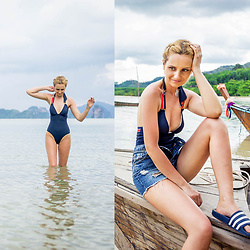 Adriana M. - Tommy Hilfiger Navy One Piece Swimwear, Adidas Flipflops, Topshop Mom Shorts - Tommy girl on holidays