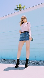 Katie Van Daalen Wetters - Céline Sunglasses, Off The Shoulder, Louis Vuitton Belt, Topshop Denim Skirt, Saint Laurent Ysl Wallet On Chain, Public Desire Perspex Boots - Dessert Sorbet