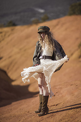 Alexe Bec - Brixton Cap, Free People Dress, Dkode Boots, Doll Poupée Military Jacket - Romance