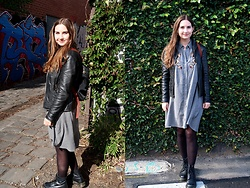 Holly R - Victoria Marks In Melbourne Leather Jacket, Zara Grey Embroidered Dress, Longchamp Le Pilage Backpack, Dr. Martens Dr - My Dr Martens Make Me Look Edgier Than I Am