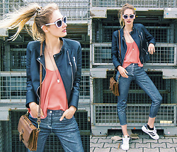Eva Velt - Topshop Top, Zara Jacket, Twinkledeals Sunnies, Adida Sneakers, H&M Metallic Jeans - Braided Metal