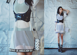 Eunice Kim - Shein Buckle Waist Belt Harness, Public Desire Brittany Boots, Shein Fishnet Dress, Issey Miyake Prism Basic Clutch Bag, Silver Large Hoops - Meshing With You