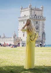 Tijana J.D - Non Branded Pastel Yellow Cardigan, Parfois Yellow Backpack, Mango Yellow Maxi Dress - Yellow in Lisbon