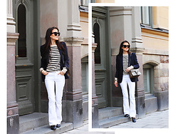 Marianne Österlund - Filippa K Blazer, Gucci Bag, Ganni Knit, Zara Jeans, Gucci Loafers, Céline Sunglasses - Navy Blues