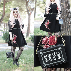 Federica D - Shein Black Dress With Roses Embriodery, Romwe Little Black Magic Book Bag - Rose and lace