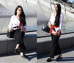 Justyna Lis - Gucci Mules, New Look Black Flares, Zara Linen Shirt, Zara Leather Bag - Spring vibes: linen shirt look