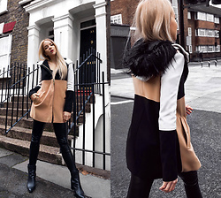 Silver Girl - River Island Colour Block Coat, Helmut Lang Leather Leggings, Dune Leather Ankle Boots, Rose Gold Black Watch - COLD SPRING IN LONDON