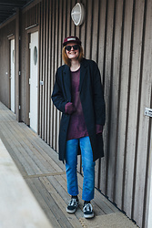 Frida Sjöberg - Vans Sneakers, Cheap Monday Jeans, Cos Coat, Poler Cap - Spring Purple