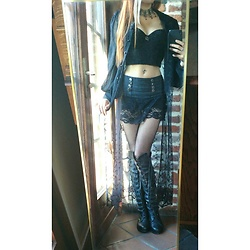 Spectra - Jeans Lace Short, Crop Top Lace Black, Long Shirt Lace Punkrave, Ebay / Amazone Aliexpress Tights Fish - *.Pretty Black Lace.*