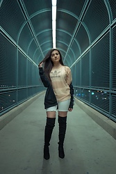 Dolledupbee - Adidas Crop Top, Zara Mesh Top, Adidas Jacket, Simmi Shoes Thigh Highs - Tunnel vision