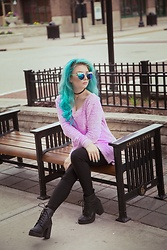 Merlissa - Sugarcoma Clothing Purple Sweater, Topshop Black Boots, The Cooling Glass Company Sunglasses - Day dreamin' ✨