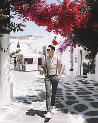 Mike Quyen - Ami Shirt, Common Projects Shoes - When in Mykonos