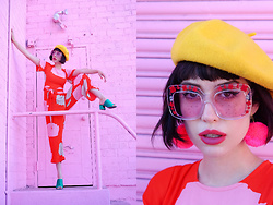 Amy Roiland - Gucci Sunglasses, Mister Zimi Jumpsuit - Pinks and Pom Poms